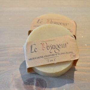 Savon shampoing le VOYAGEUR argile jaune chanvre ylang